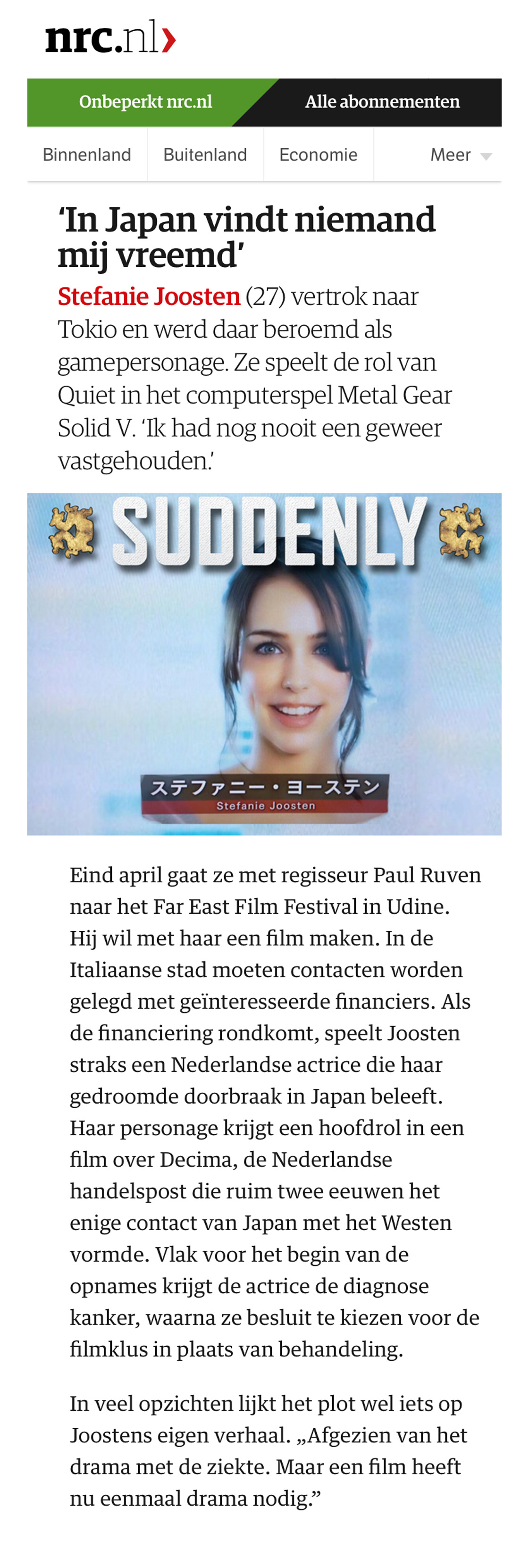 Suddenly in the NRC